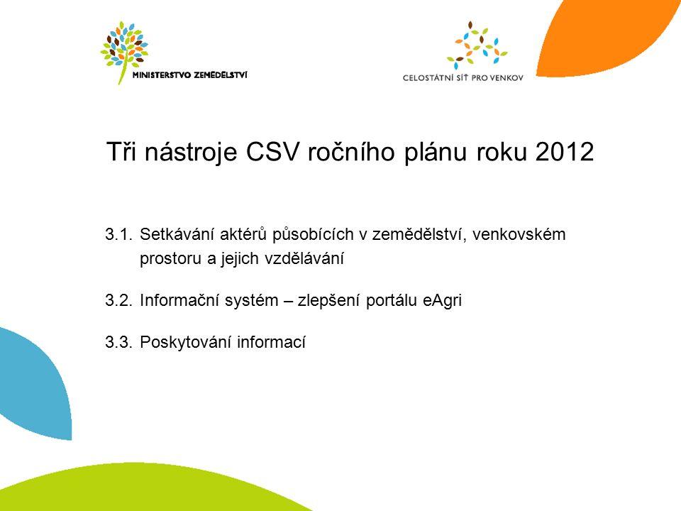 Tři nástroje CSV ročního plánu roku 2012 3.1.Setkávání aktérů působících v zemědělství, venkovském prostoru a jejich vzdělávání 3.2.Informační systém – zlepšení portálu eAgri 3.3.Poskytování informací