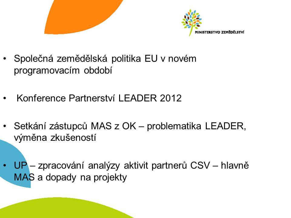 Společná zemědělská politika EU v novém programovacím období Konference Partnerství LEADER 2012 Setkání zástupců MAS z OK – problematika LEADER, výměna zkušeností UP – zpracování analýzy aktivit partnerů CSV – hlavně MAS a dopady na projekty