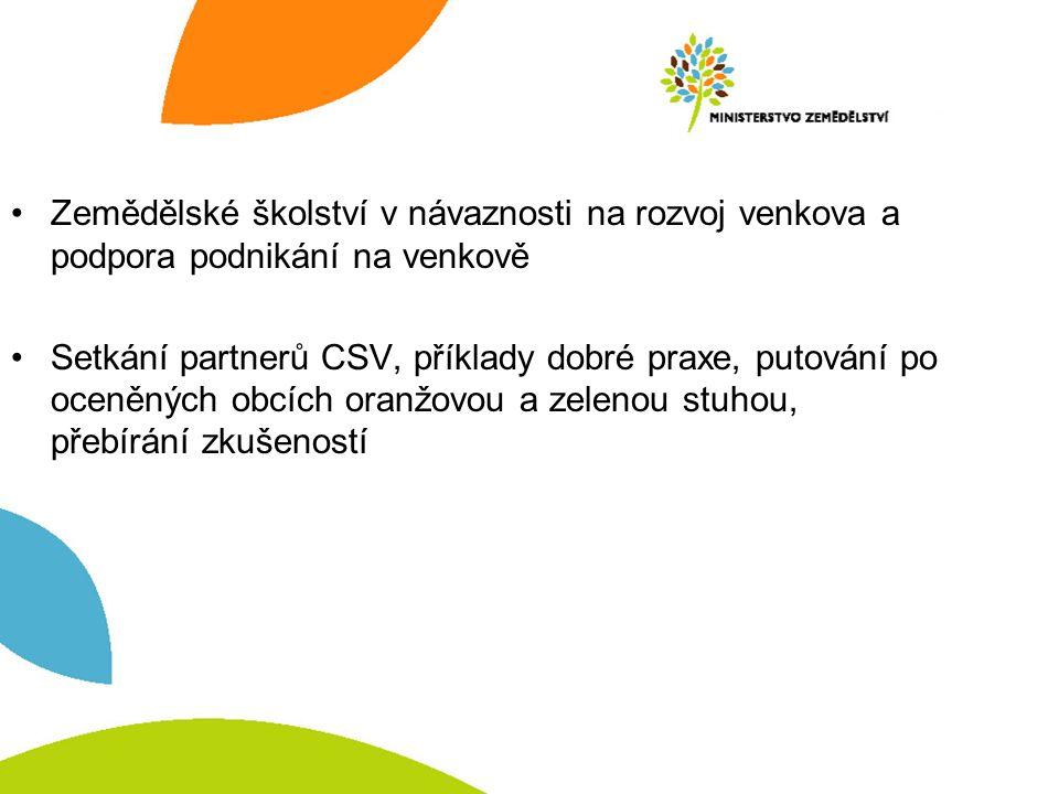Zemědělské školství v návaznosti na rozvoj venkova a podpora podnikání na venkově Setkání partnerů CSV, příklady dobré praxe, putování po oceněných obcích oranžovou a zelenou stuhou, přebírání zkušeností
