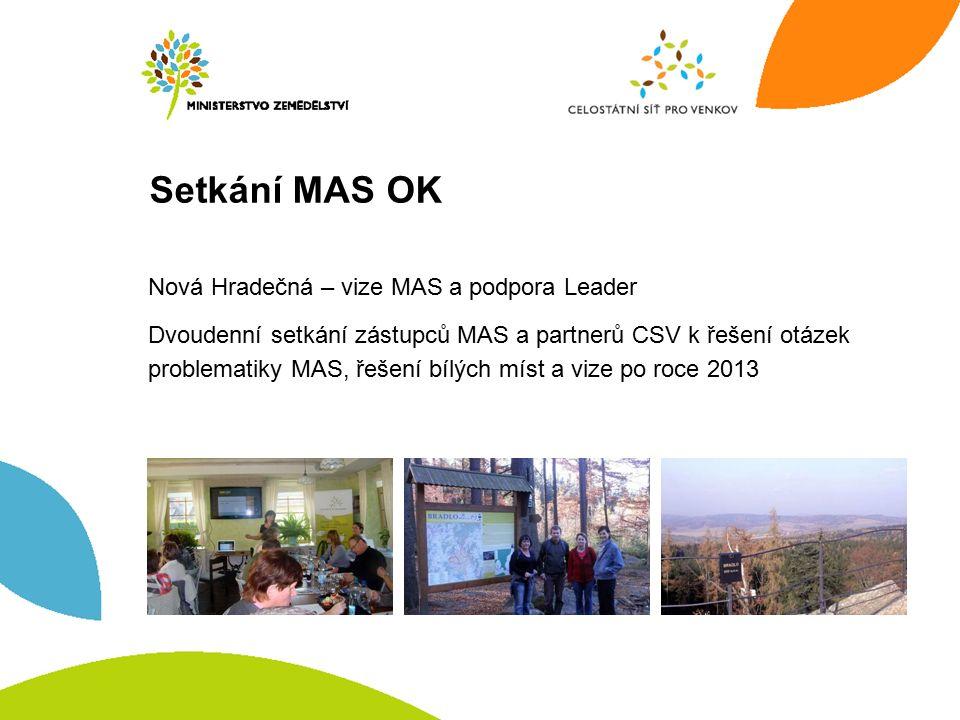 Setkání MAS OK Nová Hradečná – vize MAS a podpora Leader Dvoudenní setkání zástupců MAS a partnerů CSV k řešení otázek problematiky MAS, řešení bílých míst a vize po roce 2013