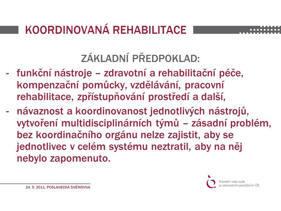 ZÁKLADNÍ PŘEDPOKLAD: -funkční nástroje – zdravotní a rehabilitační péče, kompenzační pomůcky, vzdělávání, pracovní rehabilitace, zpřístupňování prostředí a další, -návaznost a koordinovanost jednotlivých nástrojů, vytvoření multidisciplinárních týmů – zásadní problém, bez koordinačního orgánu nelze zajistit, aby se jednotlivec v celém systému neztratil, aby na něj nebylo zapomenuto.