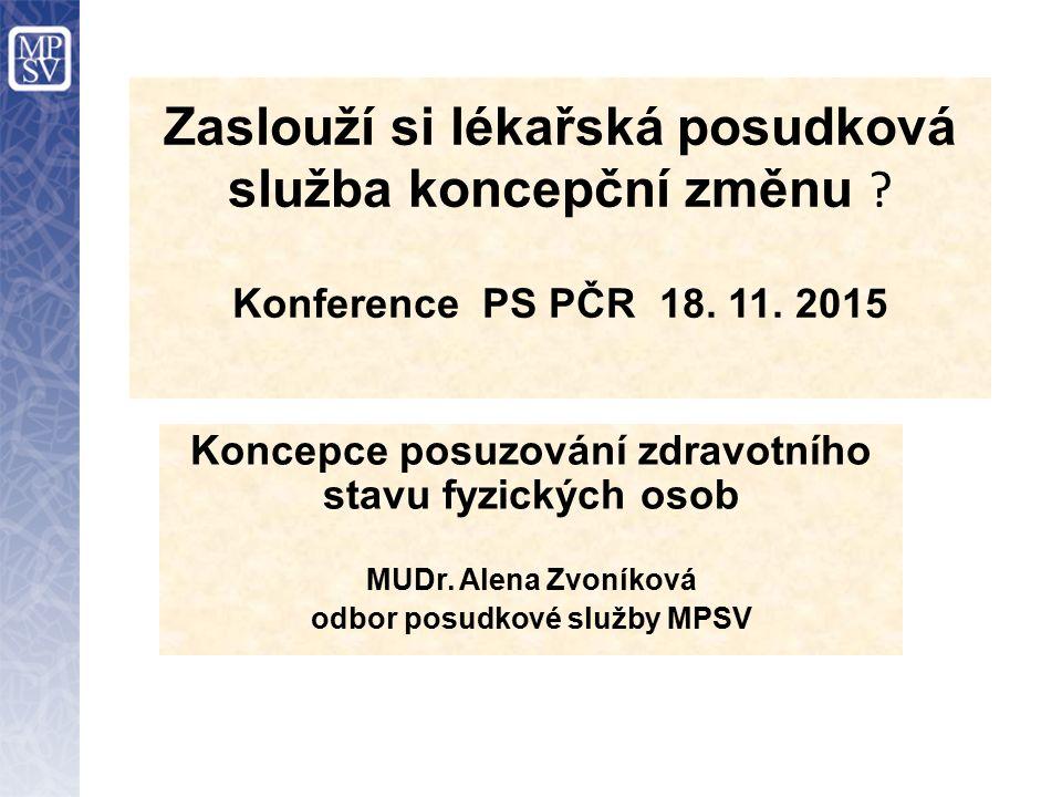 Zaslouží si lékařská posudková služba koncepční změnu ? Konference PS PČR 18. 11. 2015 Koncepce posuzování zdravotního stavu fyzických osob MUDr. Alen