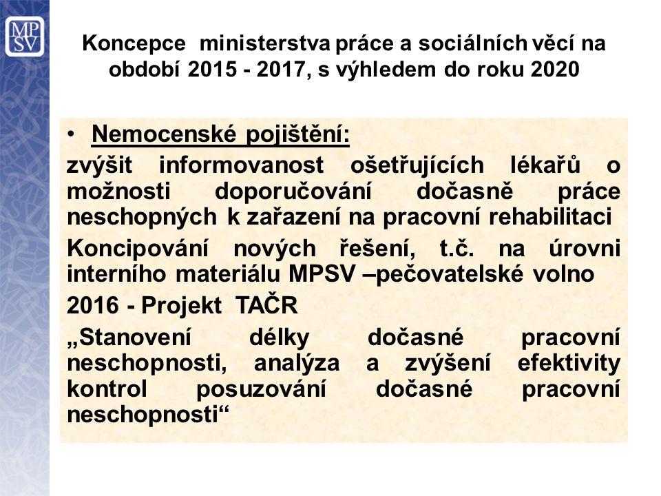 Koncepce ministerstva práce a sociálních věcí na období 2015 - 2017, s výhledem do roku 2020 Nemocenské pojištění: zvýšit informovanost ošetřujících l