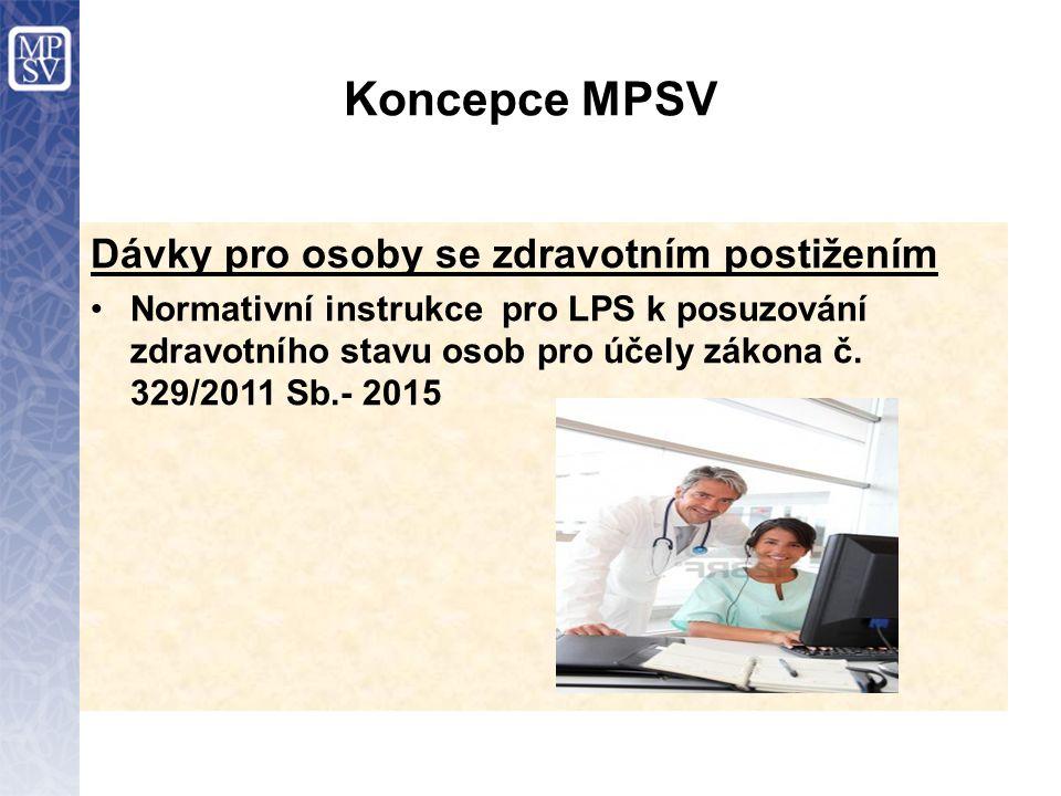 Koncepce MPSV Dávky pro osoby se zdravotním postižením Normativní instrukce pro LPS k posuzování zdravotního stavu osob pro účely zákona č. 329/2011 S