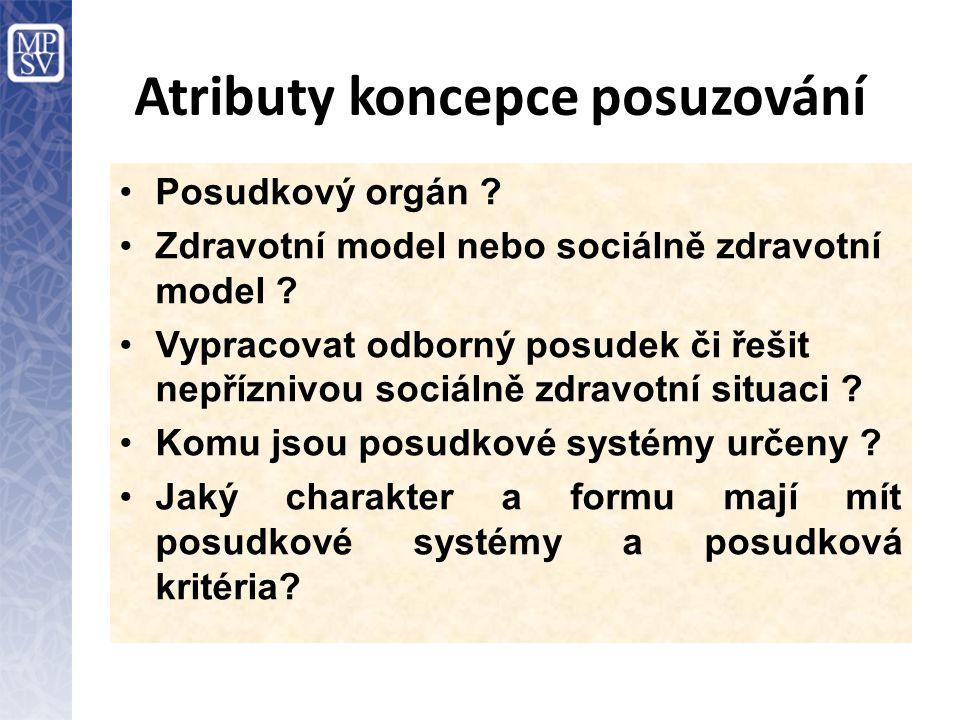 Atributy koncepce posuzování Posudkový orgán ? Zdravotní model nebo sociálně zdravotní model ? Vypracovat odborný posudek či řešit nepříznivou sociáln