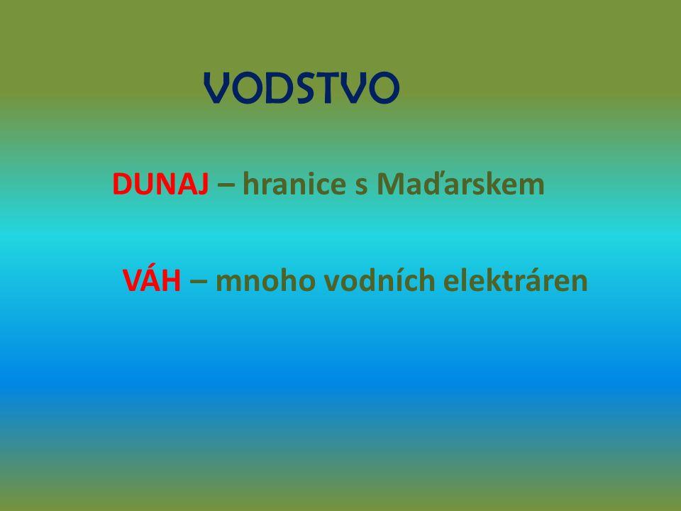 VODSTVO DUNAJ – hranice s Maďarskem VÁH – mnoho vodních elektráren