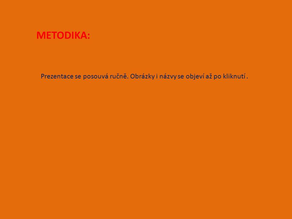 METODIKA: Prezentace se posouvá ručně. Obrázky i názvy se objeví až po kliknutí.