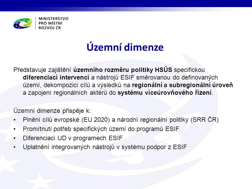 Představuje zajištění územního rozměru politiky HSÚS specifickou diferenciací intervencí a nástrojů ESIF směrovanou do definovaných území, dekompozici cílů a výsledků na regionální a subregionální úroveň a zapojení regionálních aktérů do systému víceúrovňového řízení.