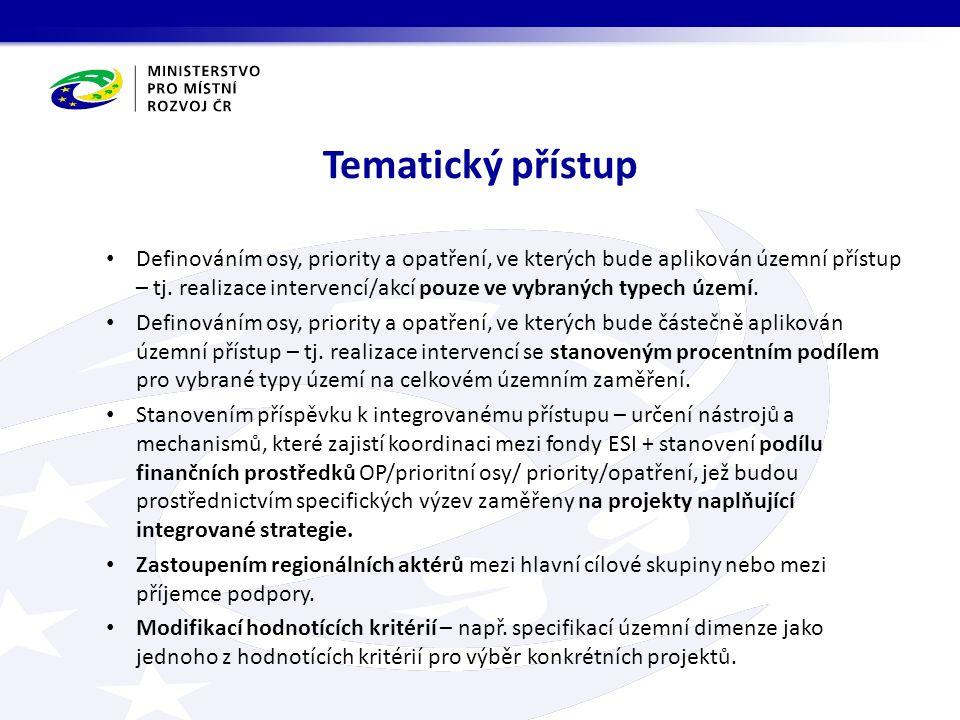 Tematický přístup Definováním osy, priority a opatření, ve kterých bude aplikován územní přístup – tj.