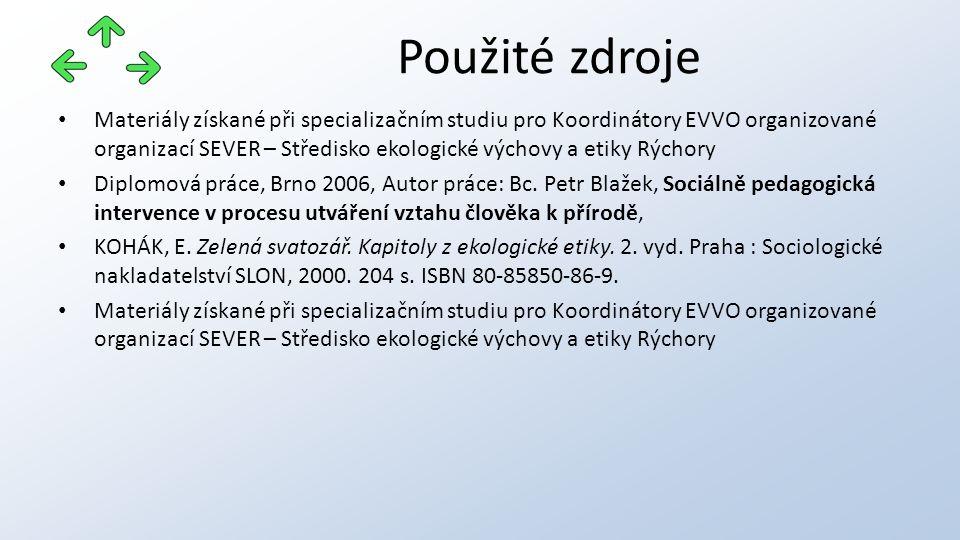 Materiály získané při specializačním studiu pro Koordinátory EVVO organizované organizací SEVER – Středisko ekologické výchovy a etiky Rýchory Diplomová práce, Brno 2006, Autor práce: Bc.
