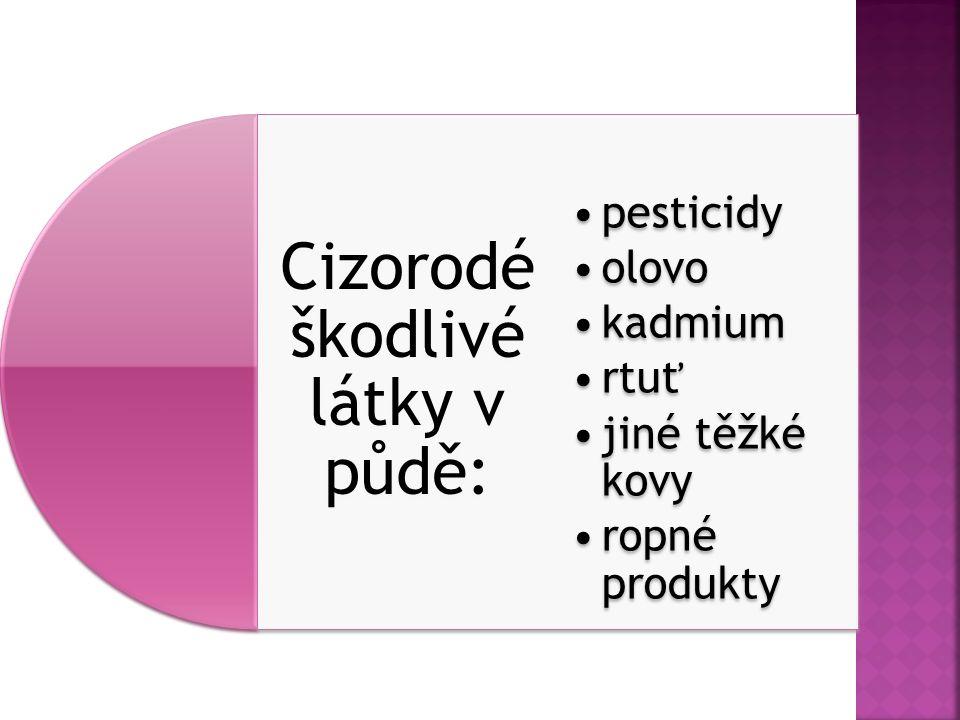 Cizorodé škodlivé látky v půdě: pesticidy olovo kadmium rtuť jiné těžké kovy ropné produkty