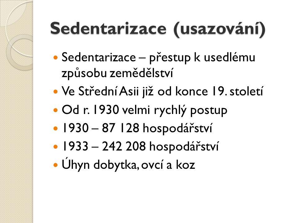Sedentarizace (usazování) Sedentarizace – přestup k usedlému způsobu zemědělství Ve Střední Asii již od konce 19.