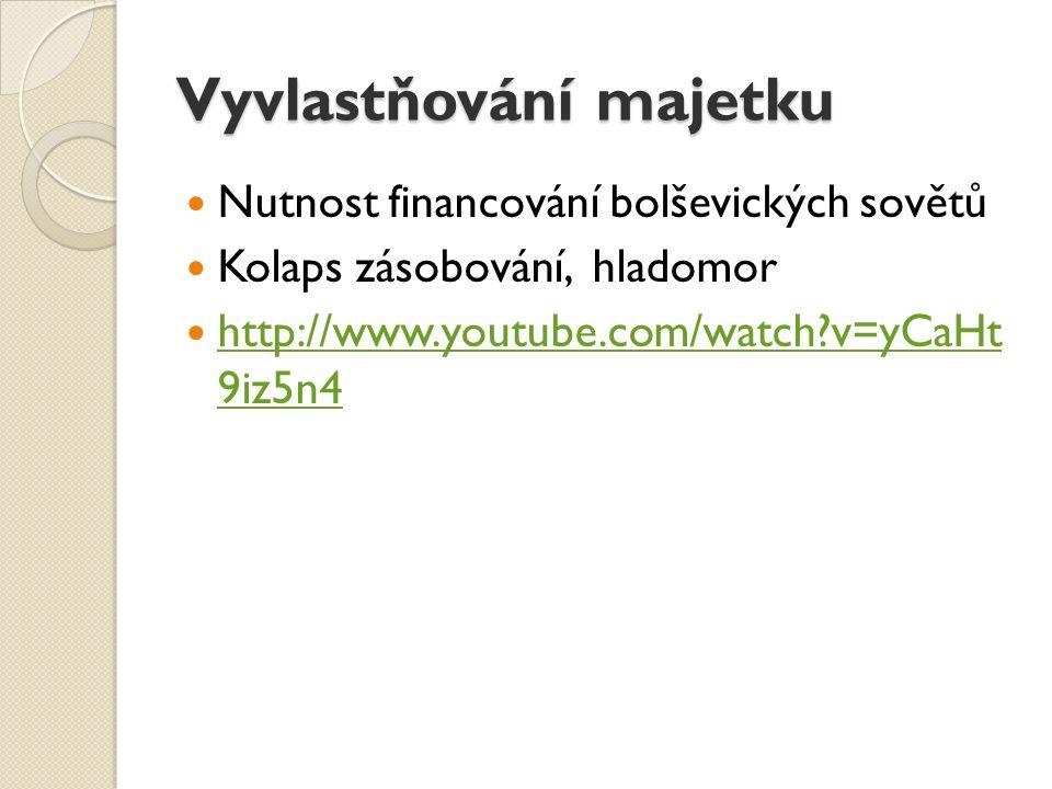 Vyvlastňování majetku Nutnost financování bolševických sovětů Kolaps zásobování, hladomor http://www.youtube.com/watch v=yCaHt 9iz5n4 http://www.youtube.com/watch v=yCaHt 9iz5n4