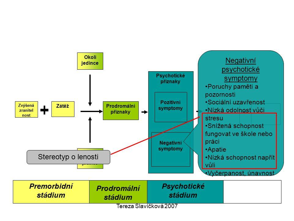 Tereza Slavíčková 2007 Premorbidní stádium Psychotické příznaky Negativní symptomy Pozitivní symptomy Okolí jedince Zvládací strategie jedince Prodrom