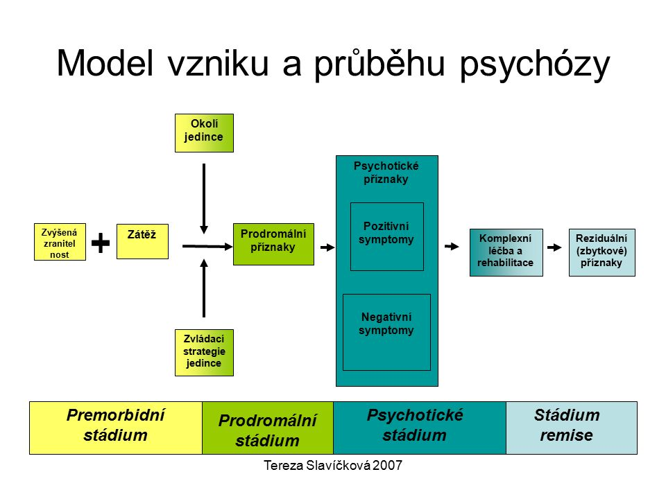 Tereza Slavíčková 2007 Model vzniku a průběhu psychózy Premorbidní stádium Psychotické příznaky Negativní symptomy Pozitivní symptomy Okolí jedince Zvládací strategie jedince Reziduální (zbytkové) příznaky Komplexní léčba a rehabilitace Prodromální příznaky Zátěž Zvýšená zranitel nost Prodromální stádium Psychotické stádium Stádium remise