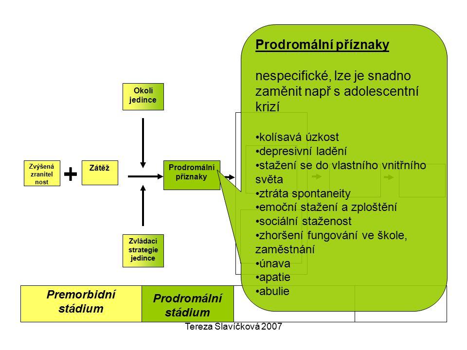 Tereza Slavíčková 2007 Premorbidní stádium Okolí jedince Zvládací strategie jedince Prodromální příznaky Zátěž Zvýšená zranitel nost Prodromální stádi