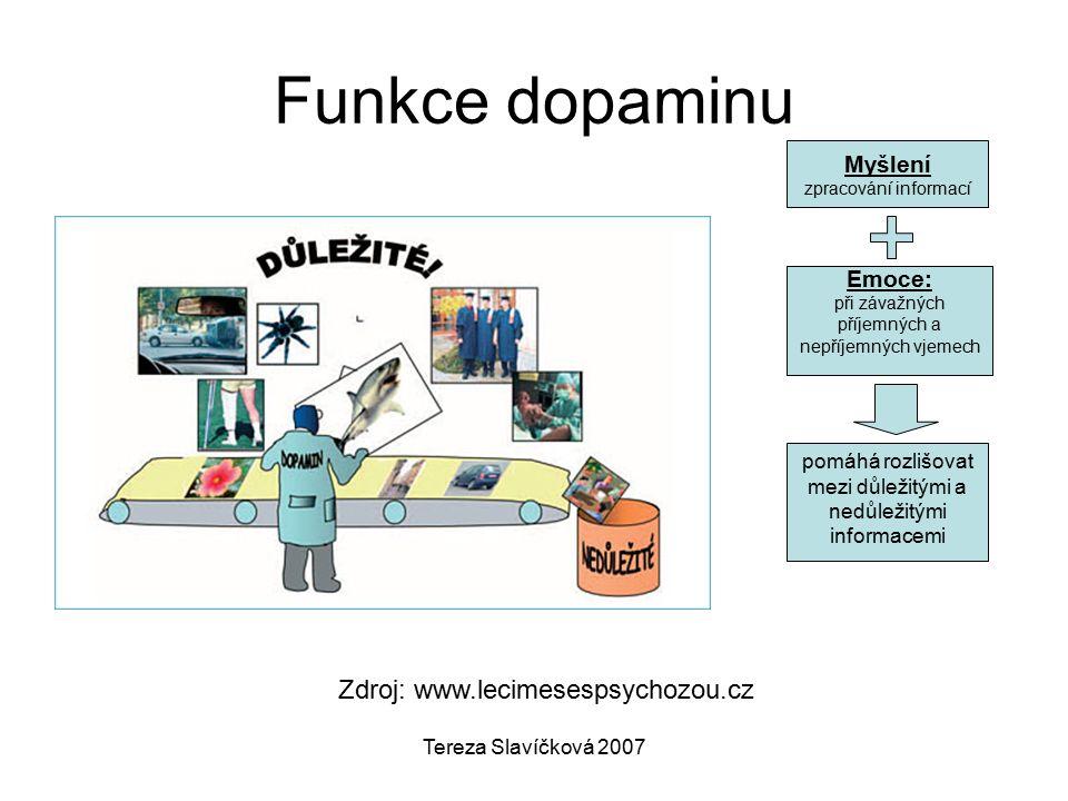 Tereza Slavíčková 2007 Funkce dopaminu Zdroj: www.lecimesespsychozou.cz pomáhá rozlišovat mezi důležitými a nedůležitými informacemi Myšlení zpracování informací Emoce: při závažných příjemných a nepříjemných vjemech