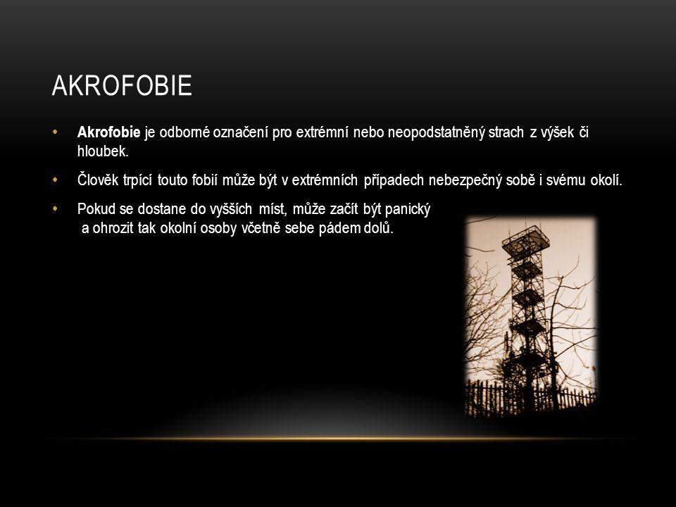 AKROFOBIE Akrofobie je odborné označení pro extrémní nebo neopodstatněný strach z výšek či hloubek.