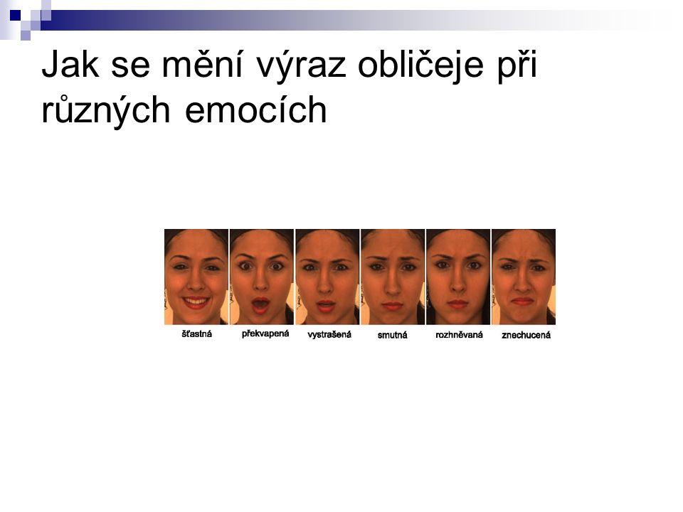 Jak se mění výraz obličeje při různých emocích