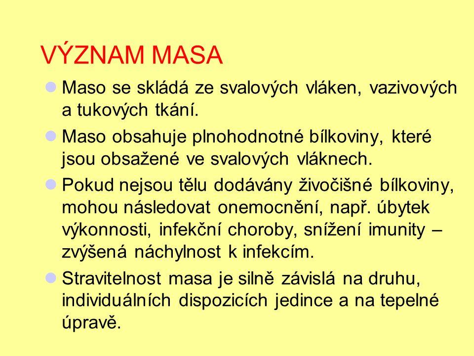 FAKTORY URČUJÍCÍ JAKOST MASA 1.Pohlaví 2. Kvalita výkrmu 3.