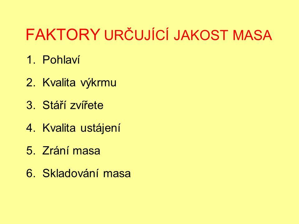 FAKTORY URČUJÍCÍ JAKOST MASA 1. Pohlaví 2. Kvalita výkrmu 3.