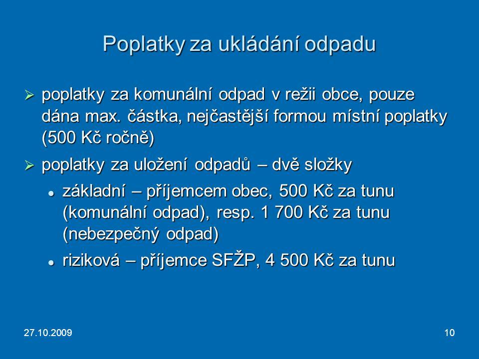 27.10.200910 Poplatky za ukládání odpadu  poplatky za komunální odpad v režii obce, pouze dána max.