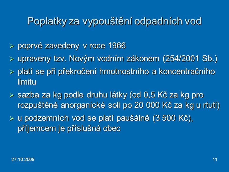27.10.200911 Poplatky za vypouštění odpadních vod  poprvé zavedeny v roce 1966  upraveny tzv.