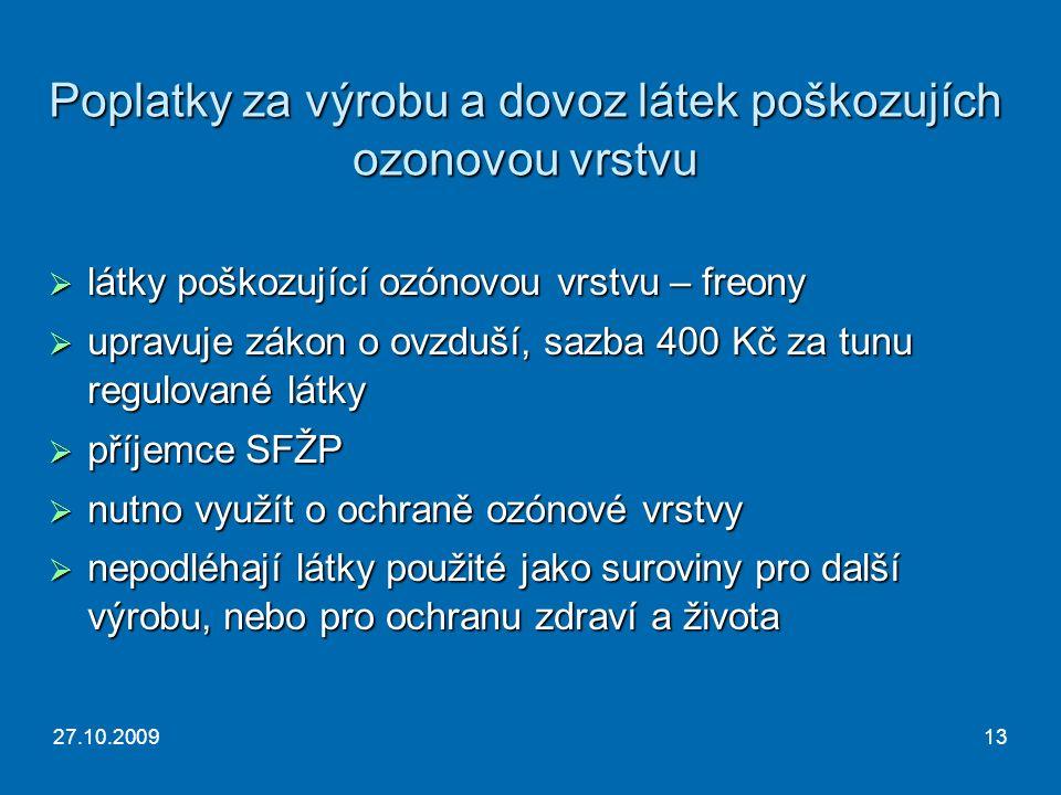 27.10.200913 Poplatky za výrobu a dovoz látek poškozujích ozonovou vrstvu  látky poškozující ozónovou vrstvu – freony  upravuje zákon o ovzduší, sazba 400 Kč za tunu regulované látky  příjemce SFŽP  nutno využít o ochraně ozónové vrstvy  nepodléhají látky použité jako suroviny pro další výrobu, nebo pro ochranu zdraví a života