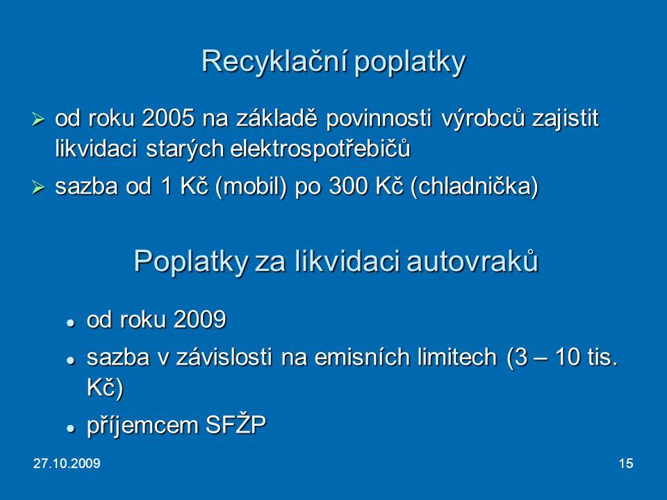 27.10.200915 Recyklační poplatky  od roku 2005 na základě povinnosti výrobců zajistit likvidaci starých elektrospotřebičů  sazba od 1 Kč (mobil) po 300 Kč (chladnička) Poplatky za likvidaci autovraků od roku 2009 od roku 2009 sazba v závislosti na emisních limitech (3 – 10 tis.