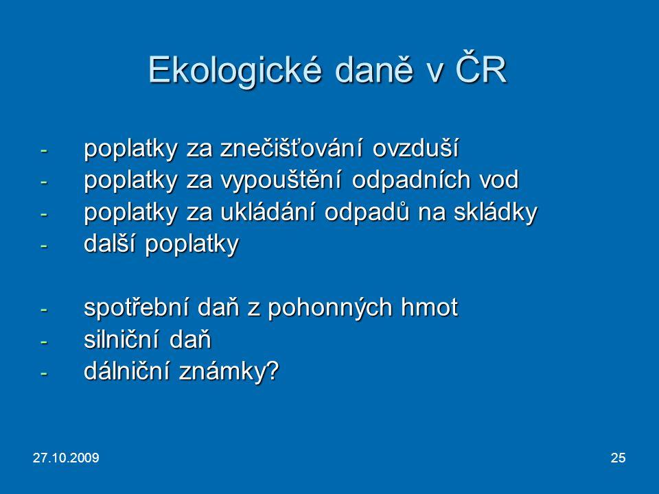 27.10.200925 Ekologické daně v ČR - poplatky za znečišťování ovzduší - poplatky za vypouštění odpadních vod - poplatky za ukládání odpadů na skládky - další poplatky - spotřební daň z pohonných hmot - silniční daň - dálniční známky