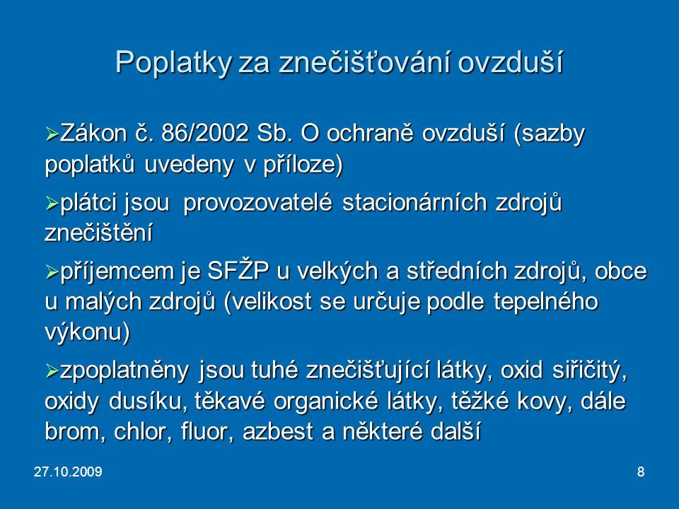27.10.20098 Poplatky za znečišťování ovzduší  Zákon č.