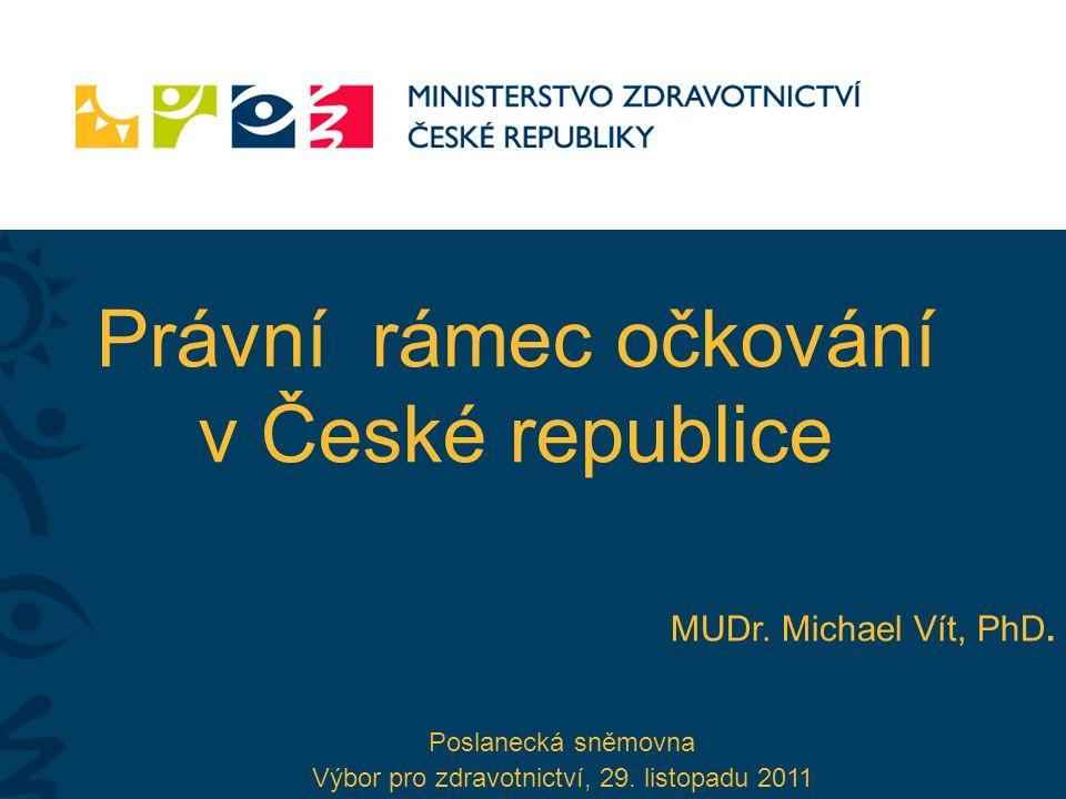 Právní rámec očkování v České republice MUDr. Michael Vít, PhD. Poslanecká sněmovna Výbor pro zdravotnictví, 29. listopadu 2011