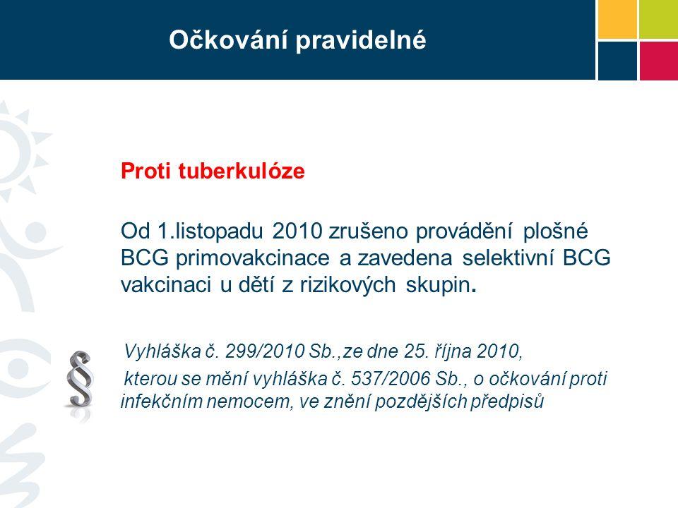 Očkování pravidelné Proti tuberkulóze Od 1.listopadu 2010 zrušeno provádění plošné BCG primovakcinace a zavedena selektivní BCG vakcinaci u dětí z riz