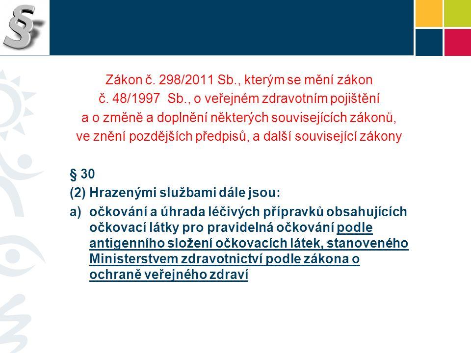 Zákon č. 298/2011 Sb., kterým se mění zákon č. 48/1997 Sb., o veřejném zdravotním pojištění a o změně a doplnění některých souvisejících zákonů, ve zn