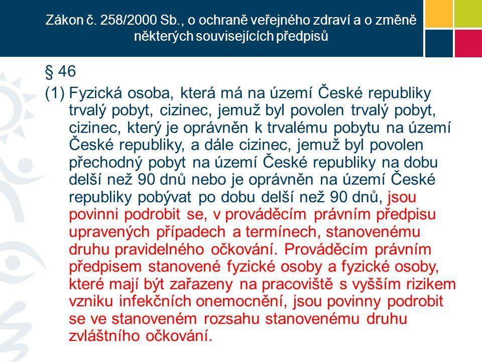 § 46 (1)Fyzická osoba, která má na území České republiky trvalý pobyt, cizinec, jemuž byl povolen trvalý pobyt, cizinec, který je oprávněn k trvalému