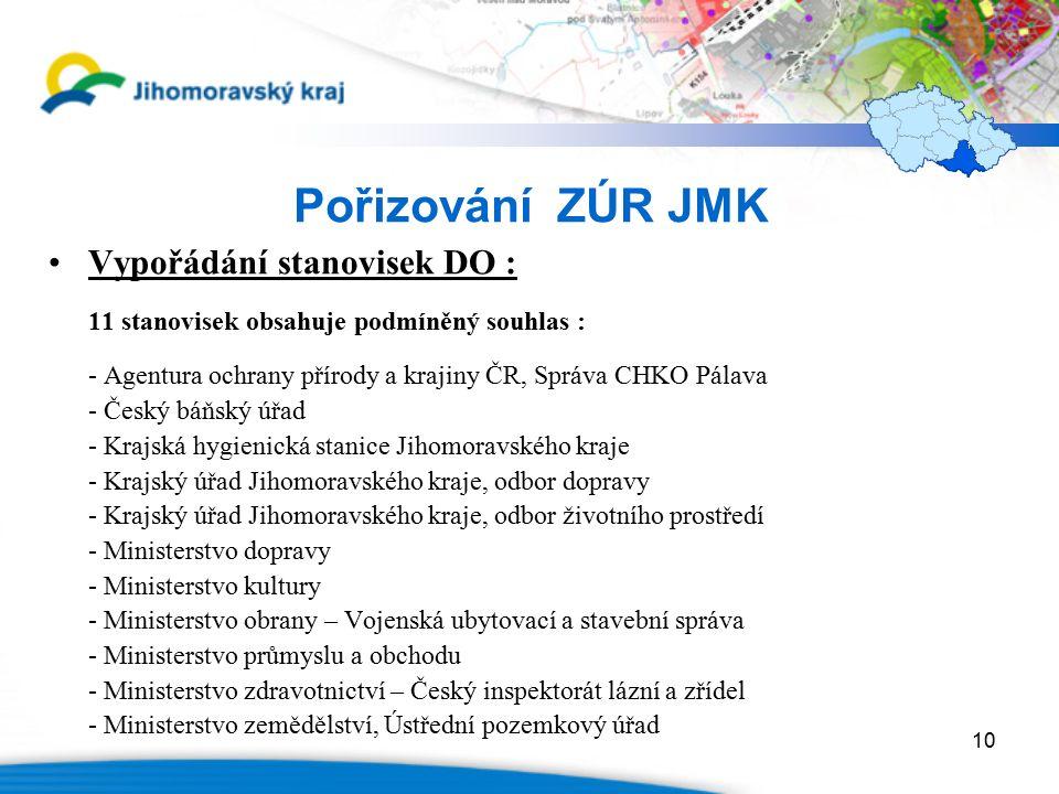 10 Pořizování ZÚR JMK Vypořádání stanovisek DO : 11 stanovisek obsahuje podmíněný souhlas : - Agentura ochrany přírody a krajiny ČR, Správa CHKO Pálav