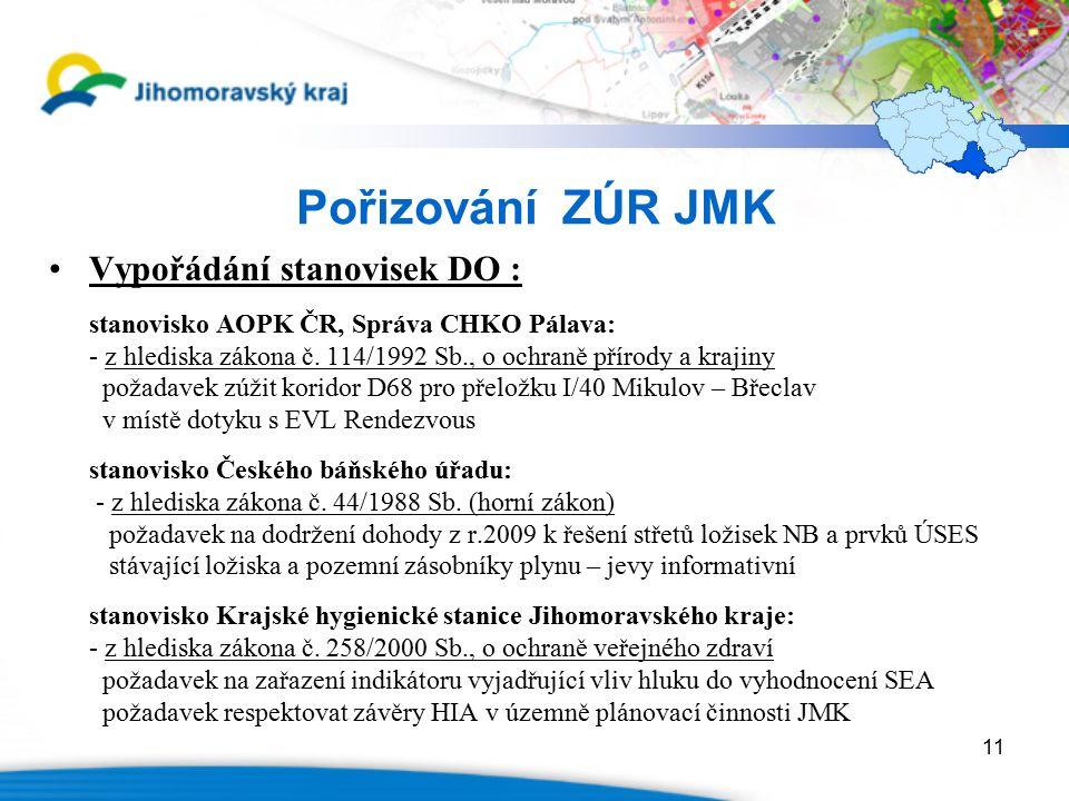 11 Pořizování ZÚR JMK Vypořádání stanovisek DO : stanovisko AOPK ČR, Správa CHKO Pálava: - z hlediska zákona č.