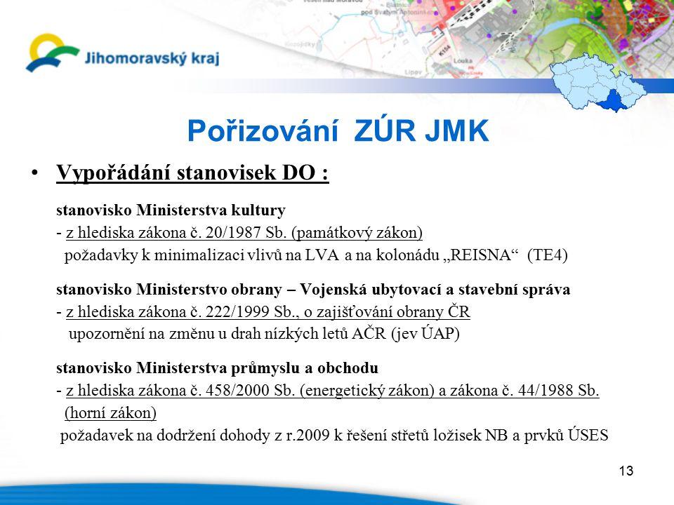 13 Pořizování ZÚR JMK Vypořádání stanovisek DO : stanovisko Ministerstva kultury - z hlediska zákona č.