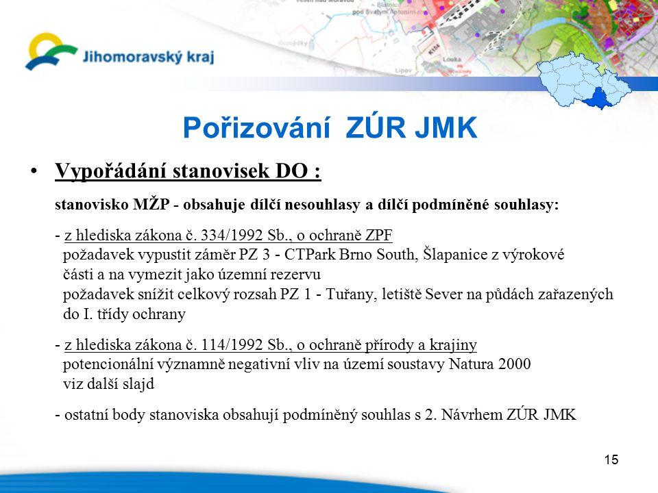 15 Pořizování ZÚR JMK Vypořádání stanovisek DO : stanovisko MŽP - obsahuje dílčí nesouhlasy a dílčí podmíněné souhlasy: - z hlediska zákona č. 334/199