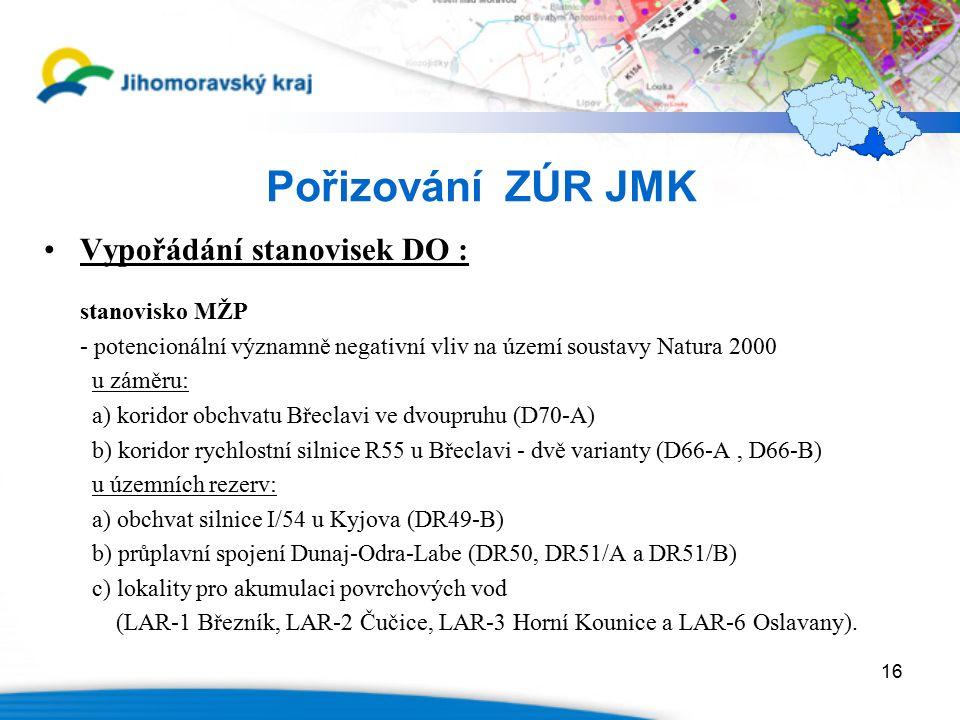 16 Pořizování ZÚR JMK Vypořádání stanovisek DO : stanovisko MŽP - potencionální významně negativní vliv na území soustavy Natura 2000 u záměru: a) kor