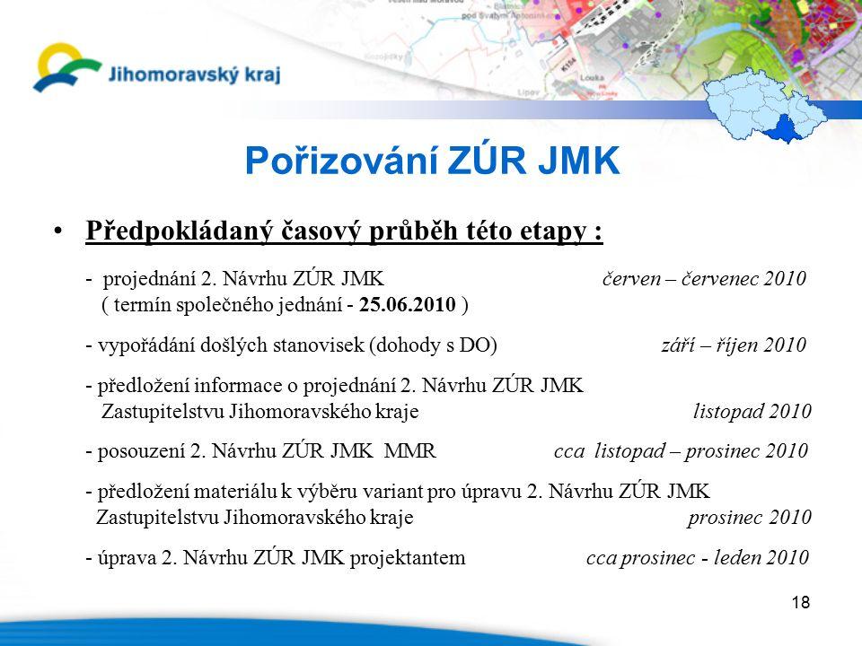 18 Pořizování ZÚR JMK Předpokládaný časový průběh této etapy : - projednání 2.