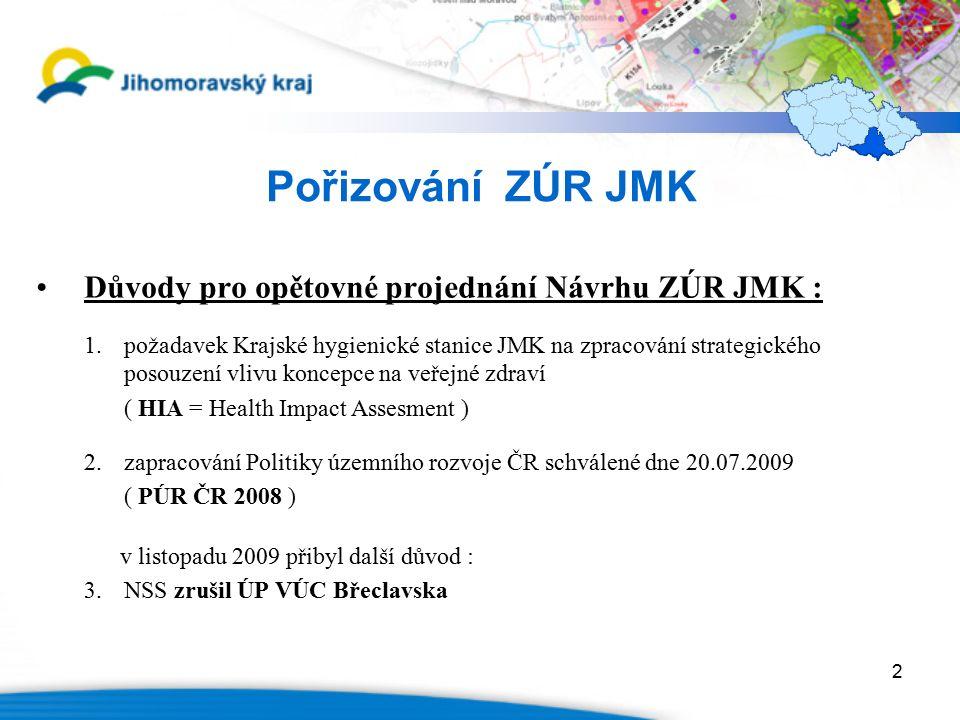 2 Pořizování ZÚR JMK Důvody pro opětovné projednání Návrhu ZÚR JMK : 1.požadavek Krajské hygienické stanice JMK na zpracování strategického posouzení vlivu koncepce na veřejné zdraví ( HIA = Health Impact Assesment ) 2.zapracování Politiky územního rozvoje ČR schválené dne 20.07.2009 ( PÚR ČR 2008 ) v listopadu 2009 přibyl další důvod : 3.NSS zrušil ÚP VÚC Břeclavska