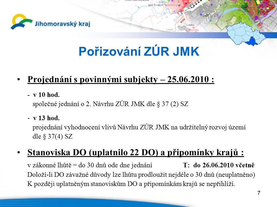 7 Pořizování ZÚR JMK Projednání s povinnými subjekty – 25.06.2010 : - v 10 hod. společné jednání o 2. Návrhu ZÚR JMK dle § 37 (2) SZ - v 13 hod. proje