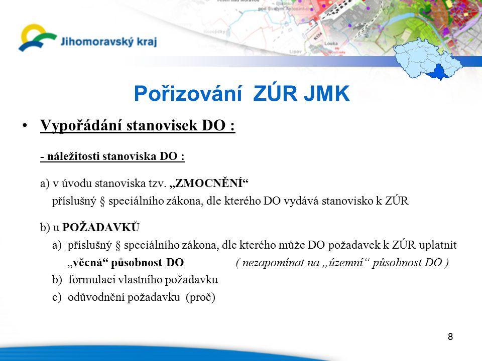 8 Pořizování ZÚR JMK Vypořádání stanovisek DO : - náležitosti stanoviska DO : a) v úvodu stanoviska tzv.