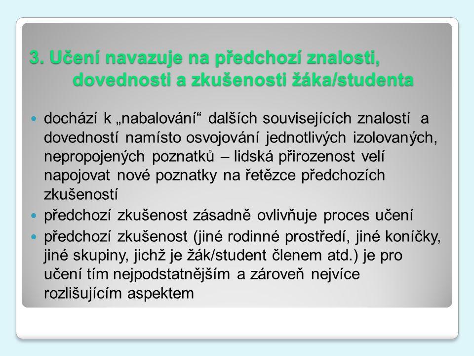 """3. Učení navazuje na předchozí znalosti, dovednosti a zkušenosti žáka/studenta dochází k """"nabalování"""" dalších souvisejících znalostí a dovedností namí"""