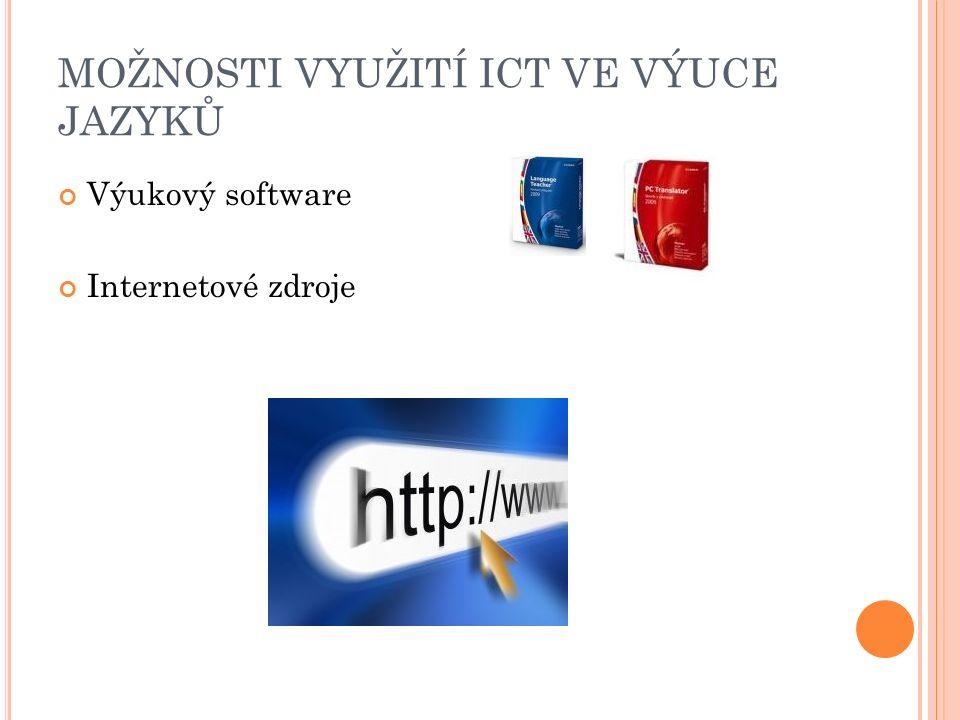 MOŽNOSTI VYUŽITÍ ICT VE VÝUCE JAZYKŮ Výukový software Internetové zdroje