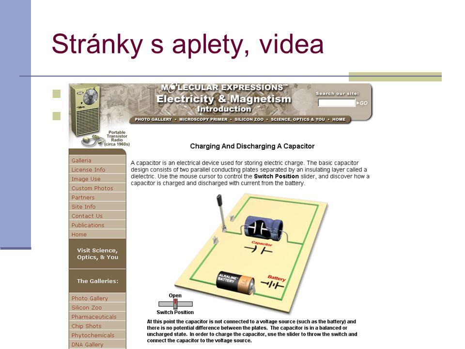 acahova@spst.cz Stránky s aplety, videa Nabíjení a vybíjení kondenzátoru Jak probíhá optický záznam informace na CD Jak probíhá optický záznam informa