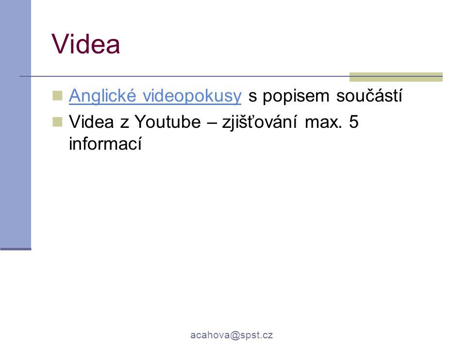 acahova@spst.cz Videa Anglické videopokusy s popisem součástí Anglické videopokusy Videa z Youtube – zjišťování max. 5 informací