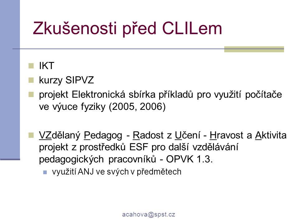 acahova@spst.cz Zkušenosti před CLILem IKT kurzy SIPVZ projekt Elektronická sbírka příkladů pro využití počítače ve výuce fyziky (2005, 2006) VZdělaný