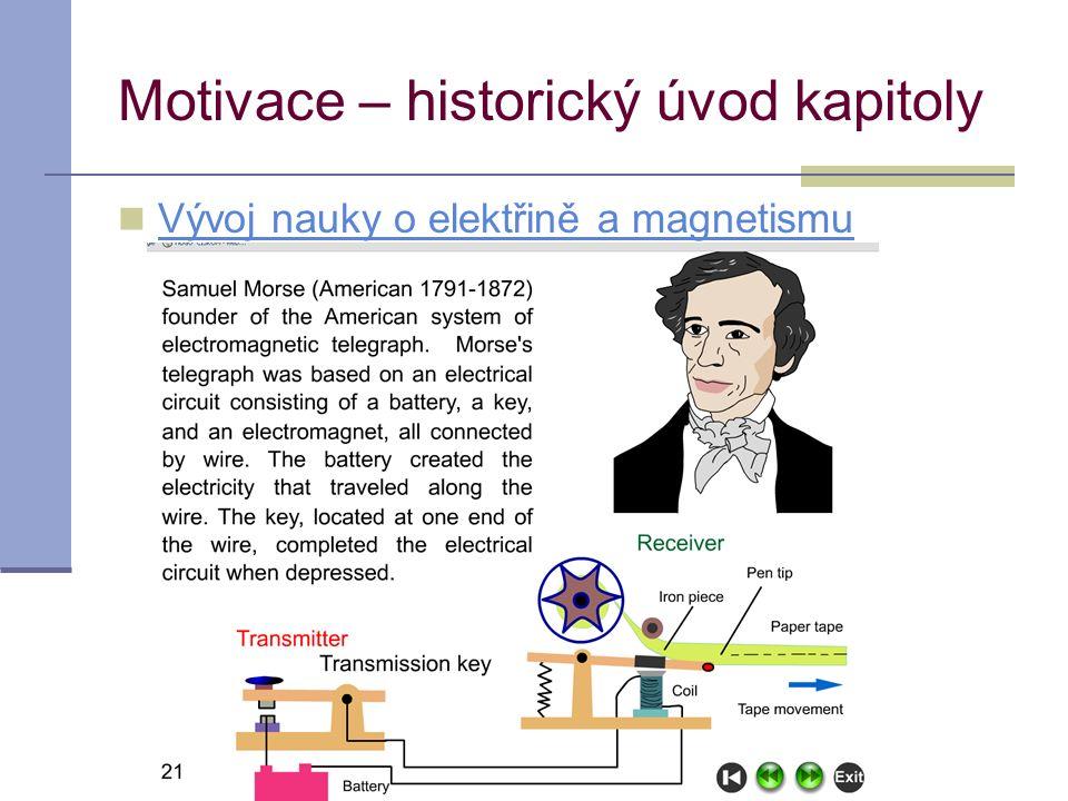 acahova@spst.cz Motivace – historický úvod kapitoly Vývoj nauky o elektřině a magnetismu